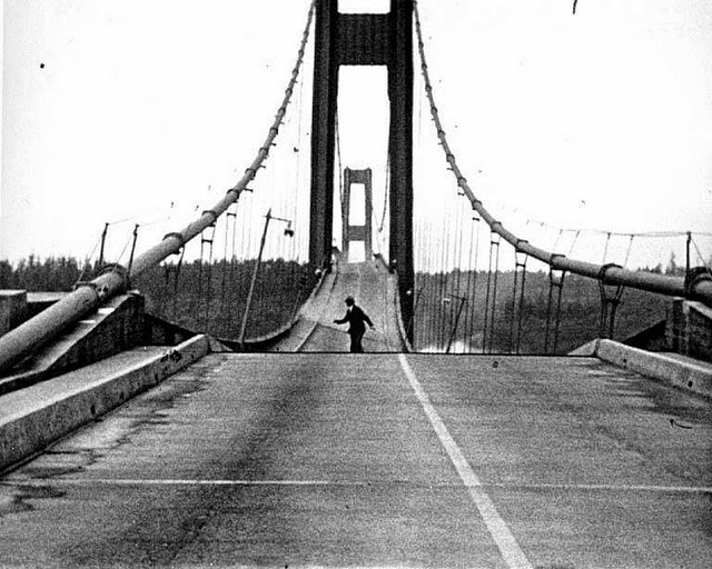 The Tacoma Narrows bridge collapsed due to engineering errors. Bridges today are in danger of collapsing due to neglect.