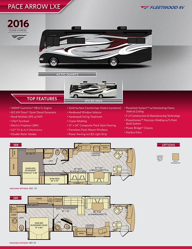Click here to view the PDF brochure on the 2016 Pace Arrow LXE from Fleetwood RV.