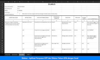 Silabus Aplikasi Penyusun RPP dan Silabus Tahun 2016 dengan Excel