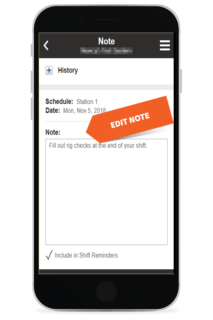 Edit a Schedule Note on a mobile device