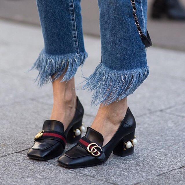 gucci pearl heel loafers zara fringe denim jeans