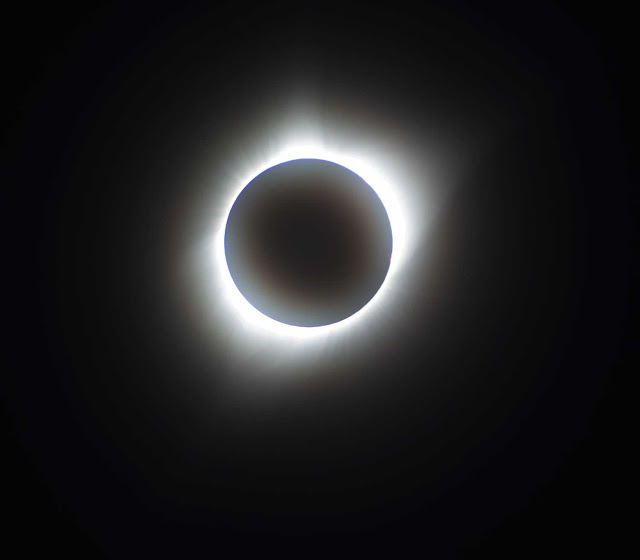Sun corona visible during August 21 total eclipse, 300 mm, 1/8 sec (Source: Palmia Observatory)