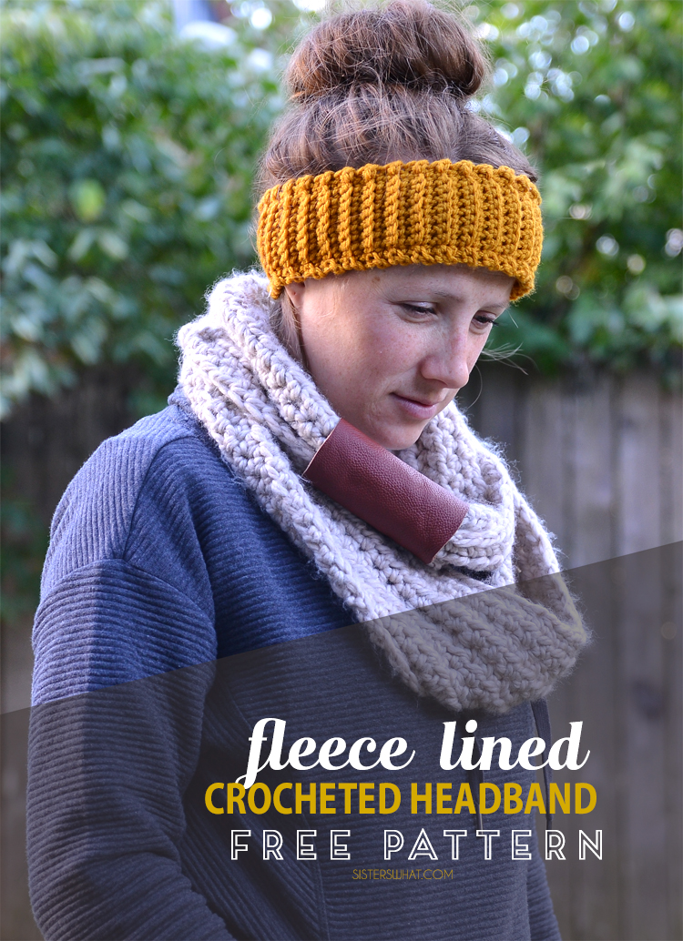 Fleece lined crocheted headband free crochet pattern