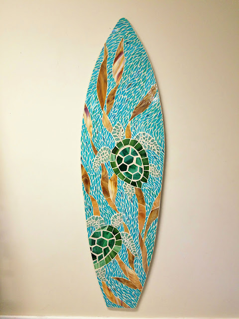 sea turtle art mosaic surfboard swimming turtles