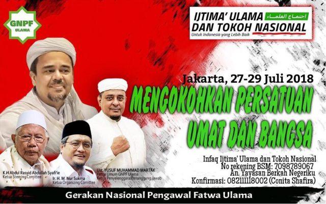 Ijtima' Ulama dan Tokoh Nasional Digelar 27-29 Juli 2018 di Jakarta