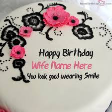Happy Birthday wishes quotes for wife: happy birthday wife name here you look good wearing smile