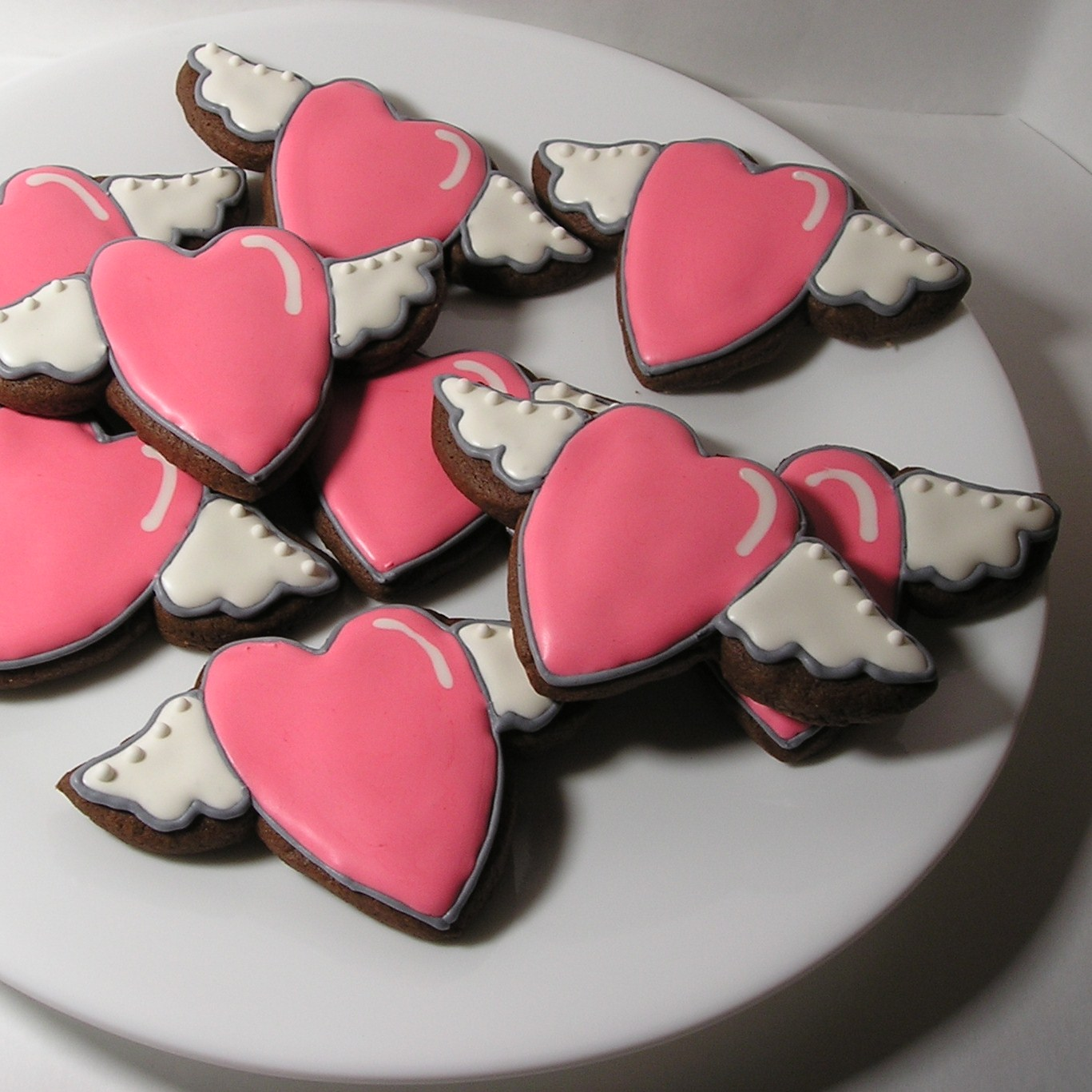 Soaring Winged Heart Valentine Chocolate Sugar Cookies
