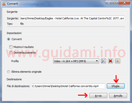 VLC finestra Converti avviare conversione file