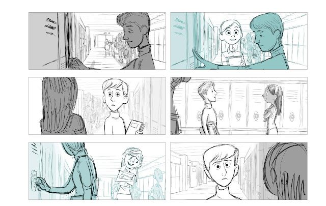 Incredibles 2 Violet and Tony Storyboard