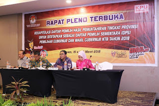 <b>KPU Tetapkan DPS Pilgub NTB Tahun 2018</b>
