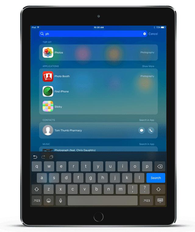 menggunakan spotlight search di iPad