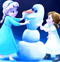 Dibujo de Elsa y Ana haciendo un muñeco de nieve