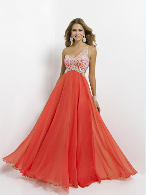 A-line One Shoulder Sleeveless Chiffon Prom Dresses With Beaded #FP262