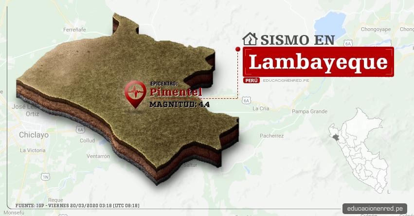 Temblor en Lambayeque de Magnitud 4.4 (Hoy Viernes 20 Marzo 2020) Sismo - Epicentro - Pimentel - Chiclayo - IGP - www.igp.gob.pe