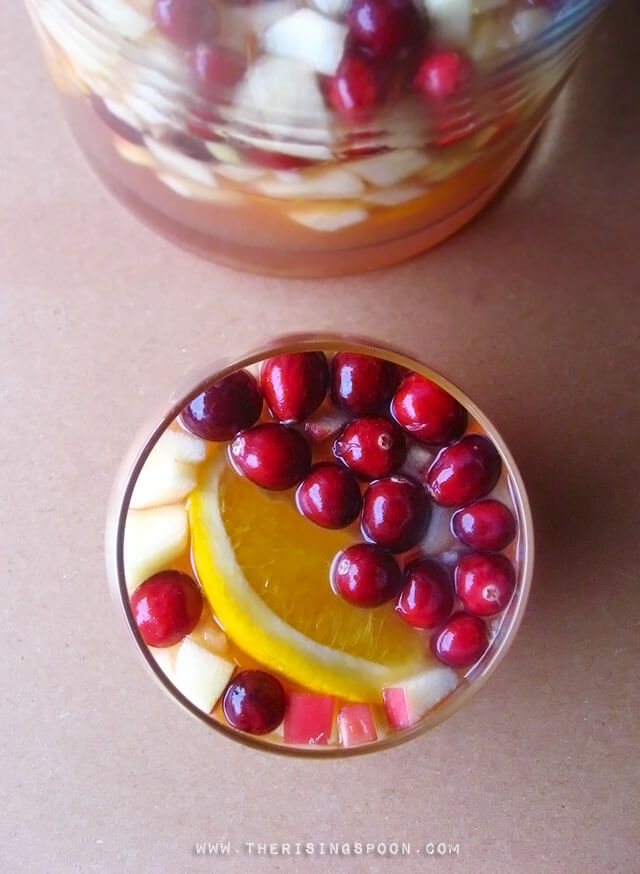 Easy White Wine Sangria Recipe with Cranberries, Oranges & Apples