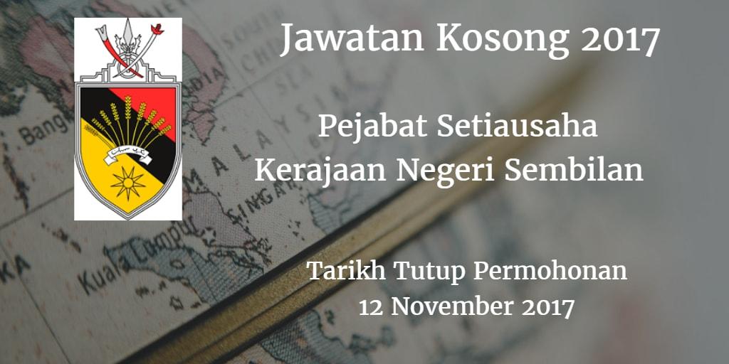 Jawatan Kosong Pejabat Setiausaha Kerajaan Negeri Sembilan 12 November 2017