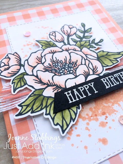 Jo's Stamping Spot - Just Add Ink Challenge #456 using Birthday Blooms and Gingham Gala by Stampin' Up!