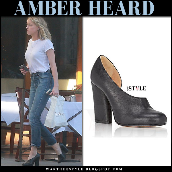 Amber Heard in white t-shirt, blue jeans and black pumps maison martin margiela what she wore