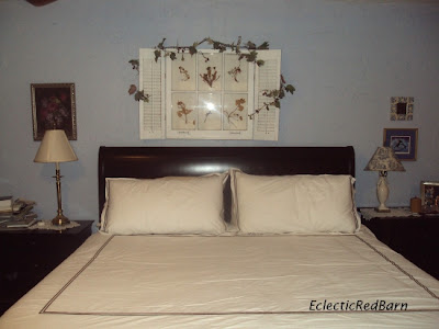 vintage window decor, sleigh bed, old and new decor