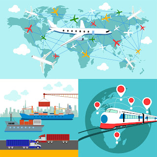 Clipart image of a hipping, delivery car, ship, plane transport on a background map of the world