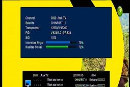 Frekuensi Arek TV di Chinasat 11 (Kuband) 98.5°E