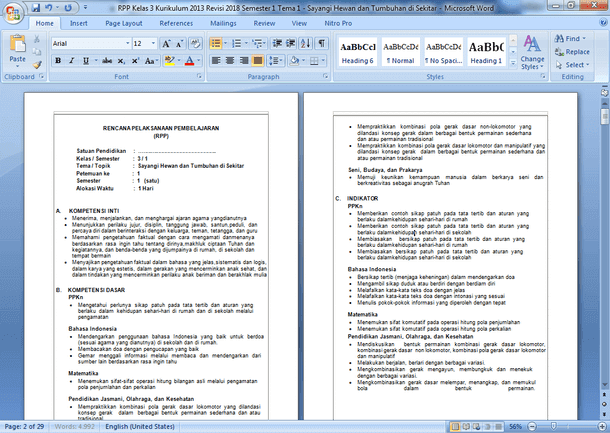 RPP Kelas 3 Kurikulum 2013 Revisi 2018 Semester 1 dan 2