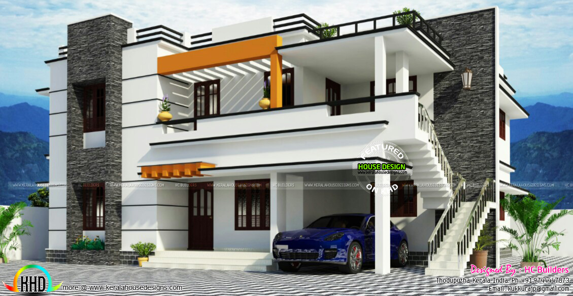 Duplex House In Flat Roof Style Kerala Home Design Bloglovin - House-of-bedrooms-style
