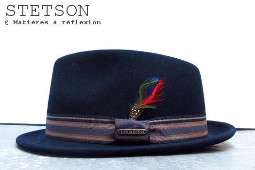 Chapeau feutre de laine bleu marine Stetson