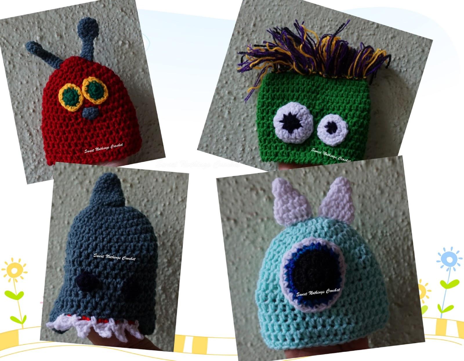 Sweet Nothings Crochet Preemie Caps 3 Monstaah Caps