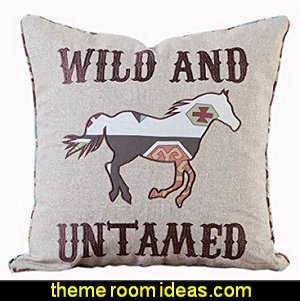 Wild and Untamed Toss Pillow   cowboy theme bedrooms - rustic western style decorating ideas - rustic decor - cowboy decor - Cowboy Bedding Western bedroom decor - horse decor - cowboy wall murals horse wall murals