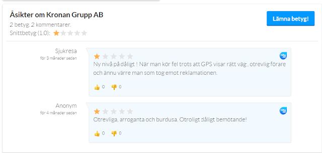 Skärmdump med två betyg och kommentarer på Kronan Taxi. bägge betygen är en stjärna