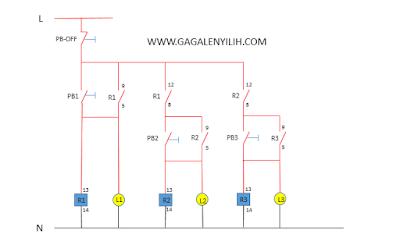 Desain rangkaian sistem kontrol 3 lampu menyala berurutan