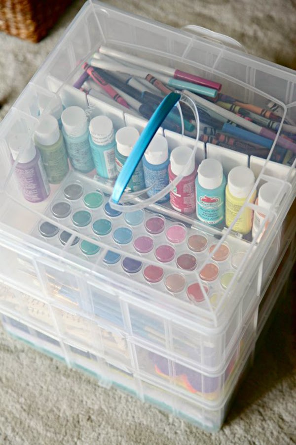Snapware storage bin for storing kids art supplies form iHeartOrganising - Fabric and ribbon storage that would be suitable for a craft room or sewing room. 24 Amazing Storage Ideas That You Will Freakin' Love!