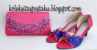 Tas Pesta dan Sepatu Mix Nuansa Pink Fanta dan Biru ELektrik