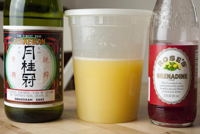 sake sunrise, sake, pineapple juice, grenadine