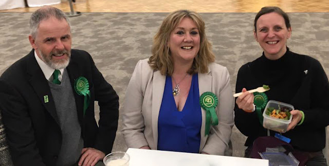 With Peterborough Green Party members Roger Proudfoot & Carolyn English on General Election night