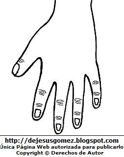 Dibujo de la mano izquierda para colorear, pintar e imprimir (Vista posterior) Dorso de la mano - Detrás. Dibujo de la mano de Jesus Gómez