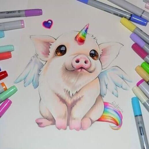 08-Pig-Unicorn-Lisa-Saukel-lighane-Cute-Colored-Fantasy-Animal-Drawings-www-designstack-co