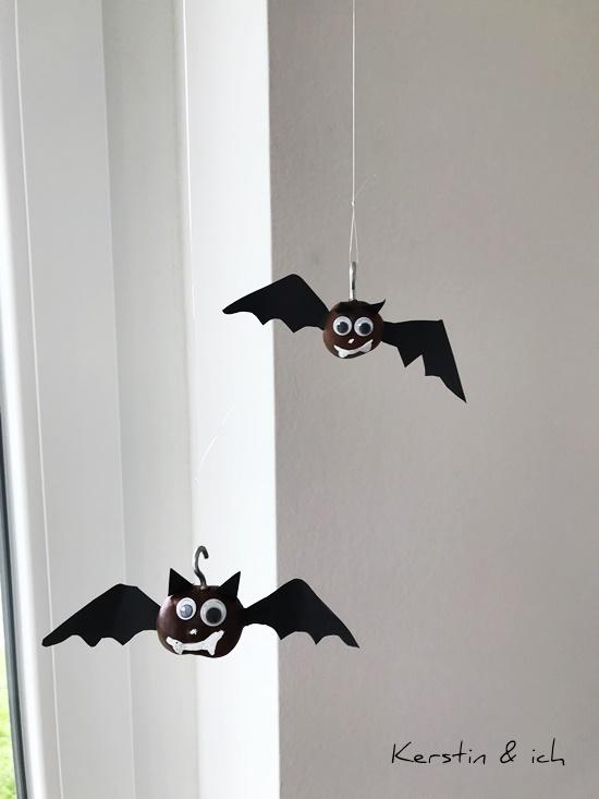 DIY basteln Kinder Kastanien Halloween Vampire