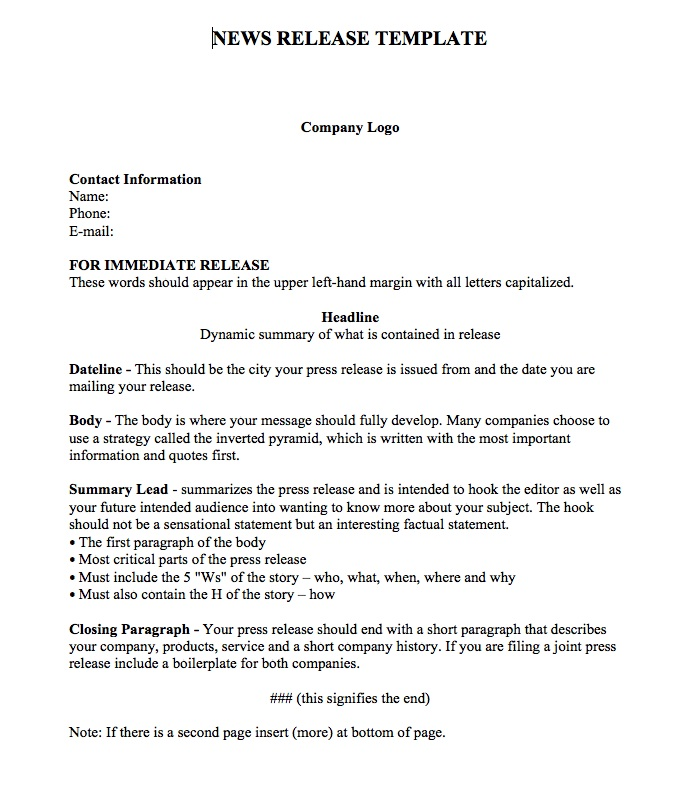 Example Press Release Template | Sample Resume Service