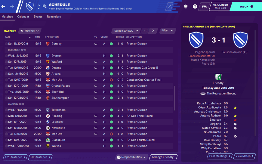 Football Manager 2020 Chelsea Sarriball Tactic Results