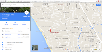 screenshot googlemap alamat Hotel Ananta Legian Bali