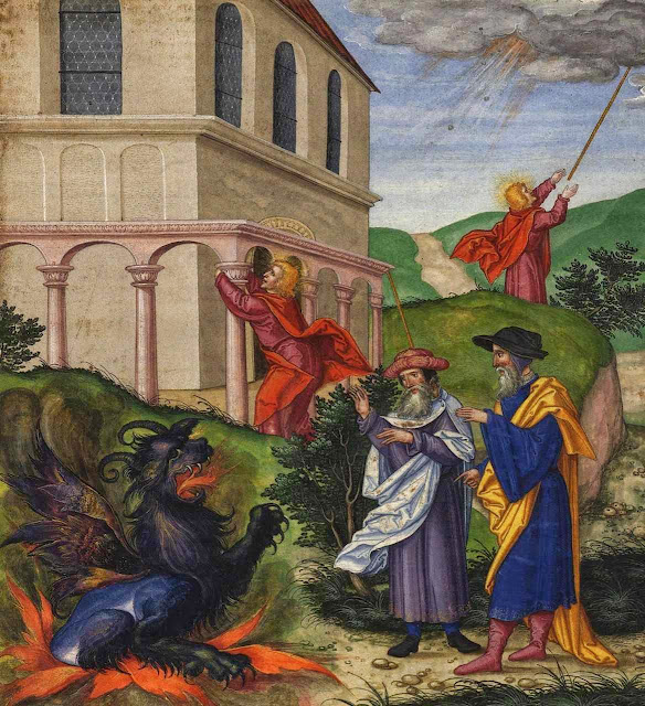 As duas testemunhas do Apocalipse enfrentam a besta. Ottheinrich-Bibel, Bayerische Staatsbibliothek