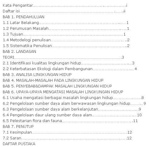 Contoh Daftar Isi