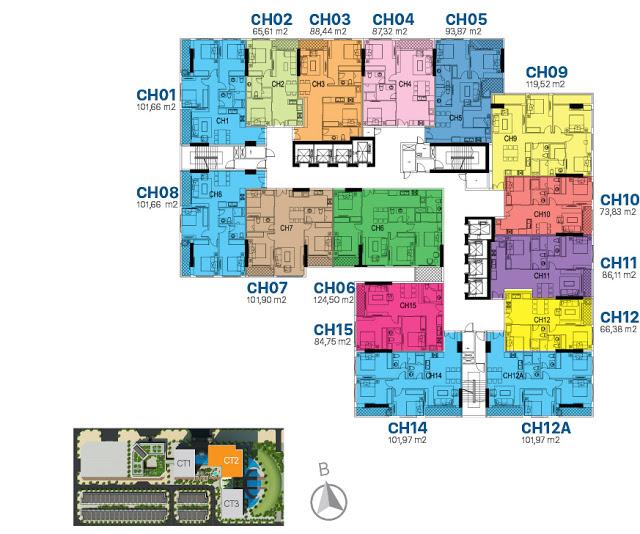 Mặt bằng thiết kế tầng căn hộ điển hình tòa CT2 Sunshine Riverside