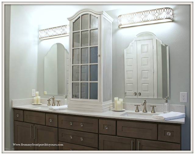 Master Bathroom Makeover-Reveal-French Farmhouse-Cottage Style-Light Bars-Arched Mirror-Arched Cabinet-DIY-Chalk Paint-Sherwin Williams-Sea Salt-Cottage STyle-From My Front Porch To Yours