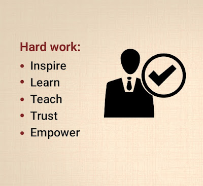Hard work: inspire, learn, teach, trust,empower.