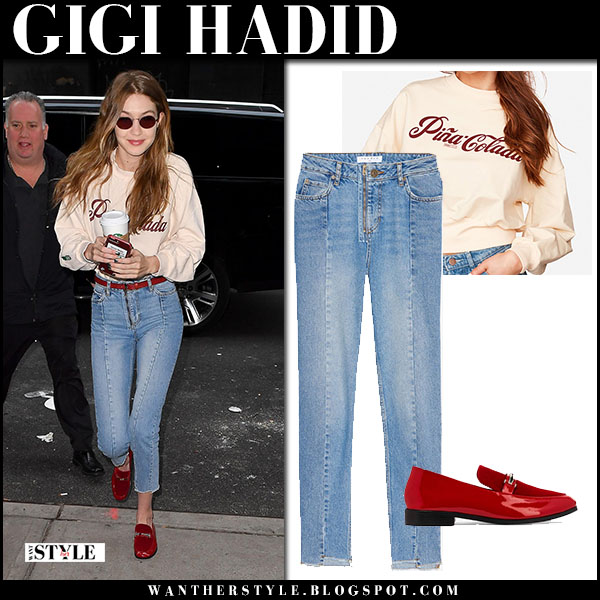 Gigi Hadid in cream sweater jeans and red shoes newbark street fashion march 20