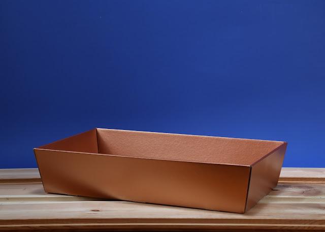 Kosz prezentowy prostokątny 25 x 46 złoto-miedziany