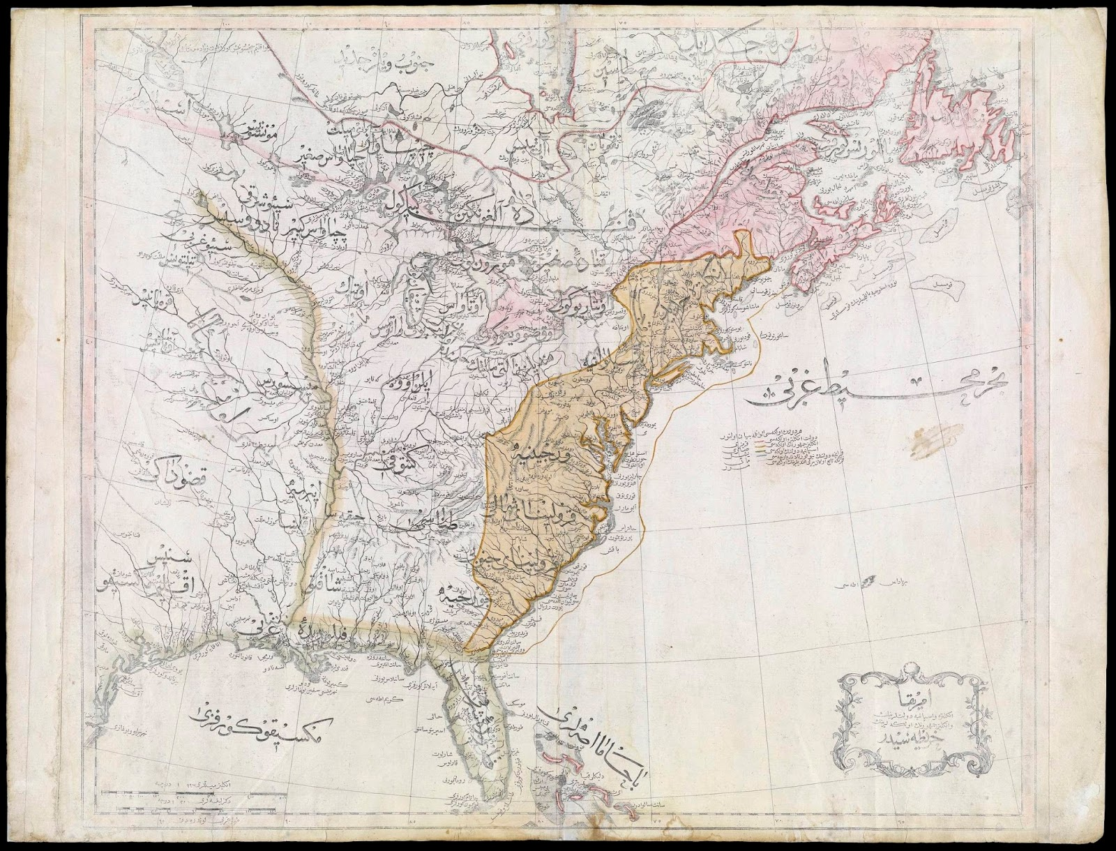 Ottoman map of the US from the Cedid Atlas (1803)